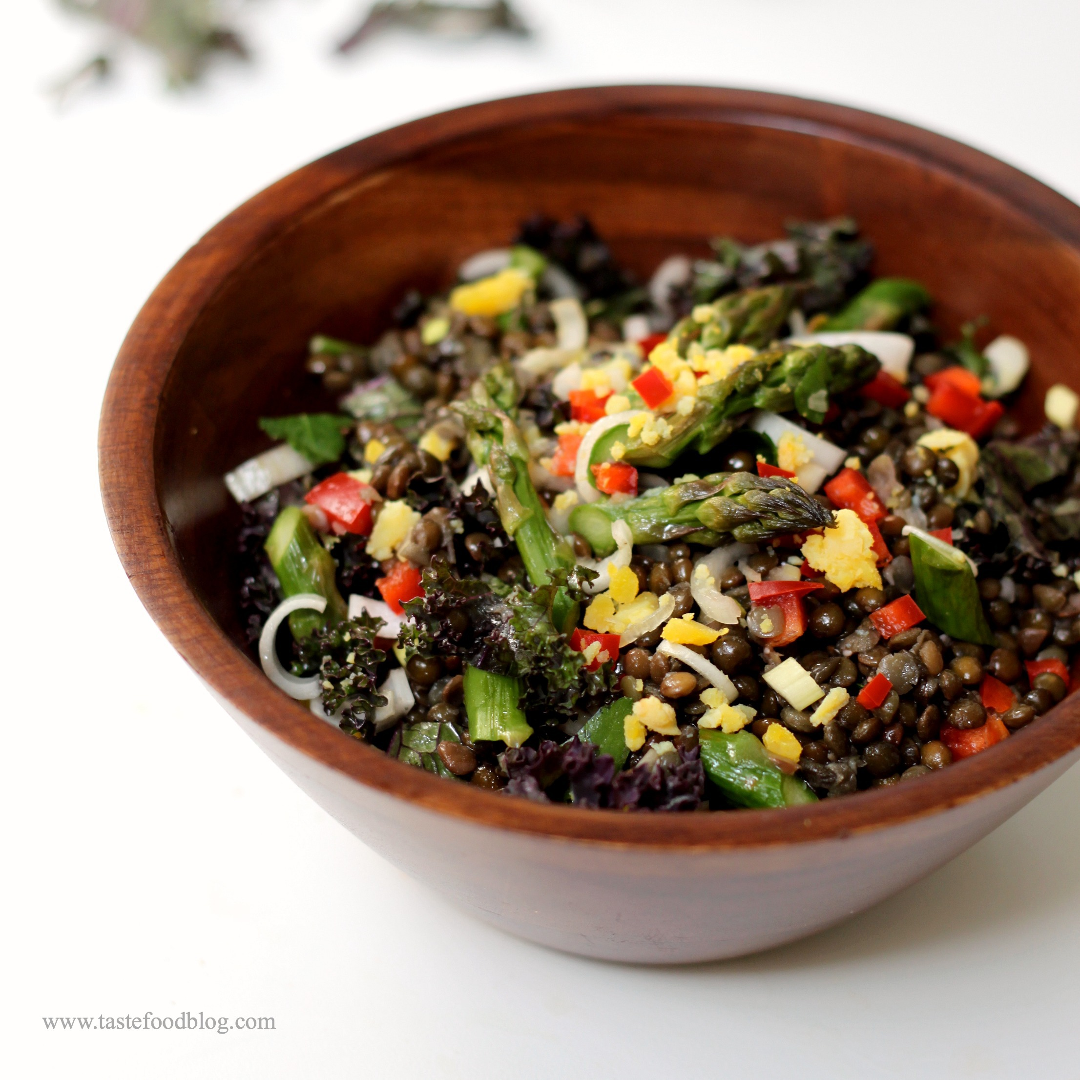 Black Lentil Salad With Asparagus Kale And Egg Tastefood